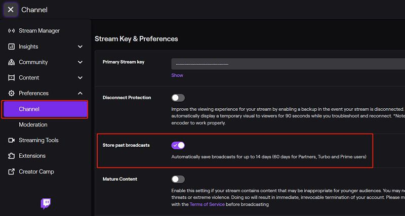 store twitch broadcast
