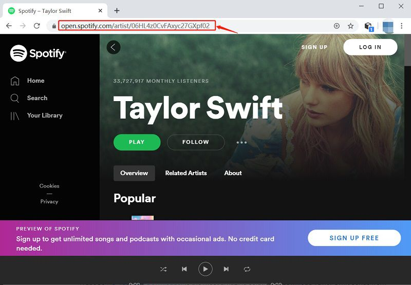 copy the link of any song, playlist or album